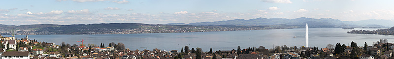 View of the fountain at the lake Zurich seen from Richterswil